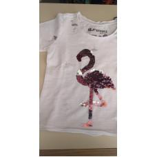 T-Shirt Flamingo Pailletten