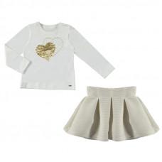 Girl Langarmshirt mit Rock weiß-gold