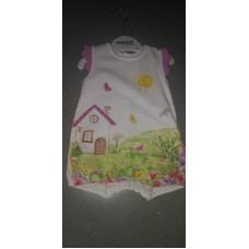 Baby Strampler Haus rosa