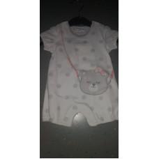 Baby Strampler Bärentasche rosa