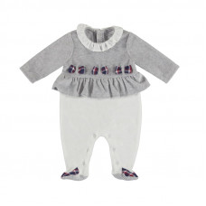 Baby Strampler grau-weiß