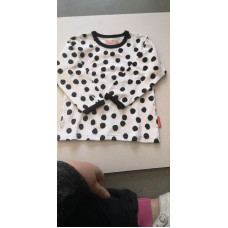 Langarmshirt schwarze Punkte 100% Baumwolle